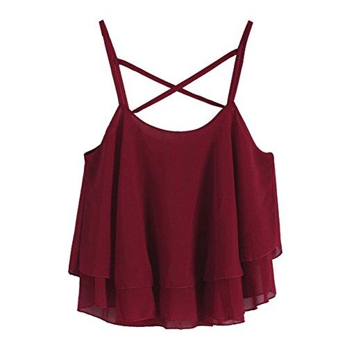 ROPALIA Débardeur Femme Camisole en mousseline de soie Rouge Vineux