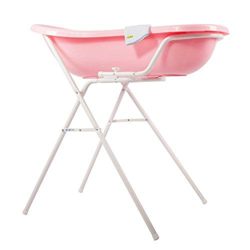 Baby Badewanne rosa XXL + Badewannenständer + Waschhandschuh - 2
