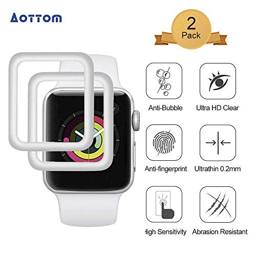 [2 Stück]Aottom Kompatibel Apple Watch 42mm Schutzfolie 3D Folie iWatch 42mm Schutz Folie Series 3 Bildschirmschutz Full Apple Watch Series 2 Glass Screen Protector 9H Härte Glas für iWatch Series 3/2/1
