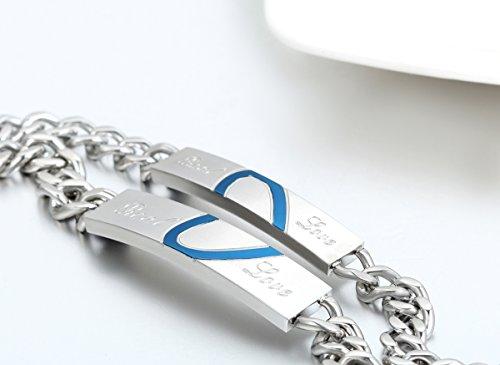 "JewelryWe Schmuck 2pcs Edelstahl Armband Panzerarmband mit ""Real Love"" Herz Gravur Panzerkette Partnerarmband Damen Herren Armreif, Silber Blau, KOSTENLOS Gravur"