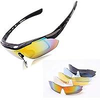 WOLFBIKE UV400 Men/Women Coating Polarized Sunglasses Safety Eyewear Goggle for Riding 5 Lens-black