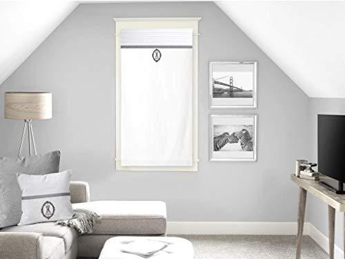 Soleil d'ocre Boudoir Brise-bise, Coton, Blanc, 45 x 90 cm