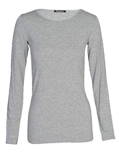 WearAll - Haut simple à manches longues avec un col rond - Hauts - Femmes - Grandes tailles 44 à 48 gris clair
