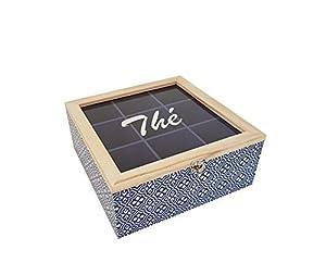 Boîte à Thé à 9 Compartiments Décorative en Bois, 24x24x10 cm