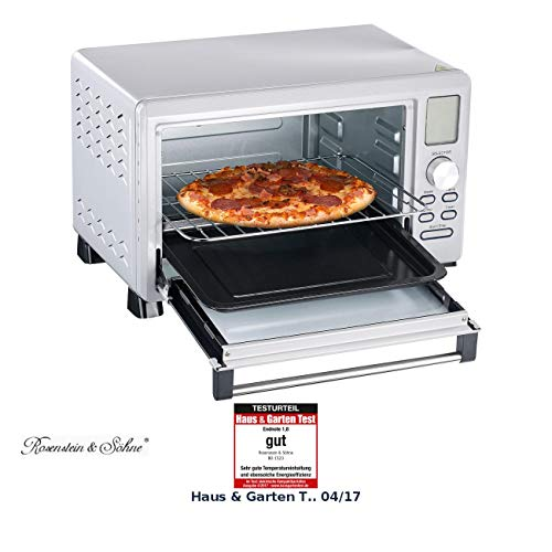 Rosenstein & Söhne Digitaler Mini Backofen: Digitaler Multifunktions-Backofen BO-1523 mit Automenüs, 23 l, 1.500 W (Kompakt Backofen) -