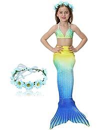 DAXIANG 4 Pièces Petite Fille Maillot de Bain Princesse Queue de Sirène Mermaid Bikini Cosplay Ensembles (pouvez ajouter monopalme)