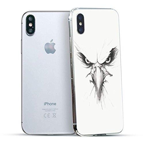 finoo | Iphone X Hard Case Handy-Hülle mit Motiv | dünne stoßfeste Schutz-Cover Tasche in Premium Qualität | Premium Case für Dein Smartphone| Elefant Line Art Weißer Adler