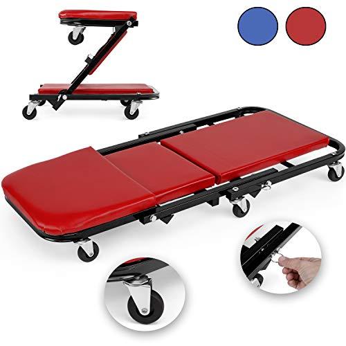 TRESKO Table de Montage métallique Robuste | Plate-Forme Mobile à 6 Roues avec capacité de Rotation à 360° | Rembourrage continu | Appui-tête | Idéal pour Les travaux mécaniques (Rouge)