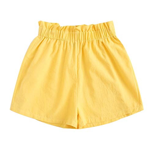 WOZOW Shorts Kurze Hose Damen Bettwäsche Baumwolle Solid Einfarbig Casual Loose Rüschen Mini Freizeithose Stoffhose High Waist A Line Mode Soft Pyjama Trousers (2XL,Zitronengelb) - Bettwäsche Geraffte Lila