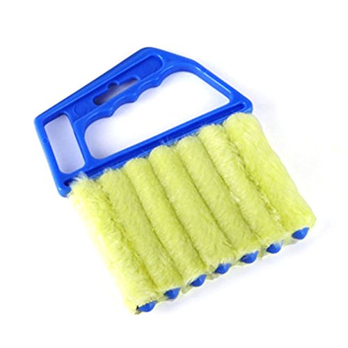 Rollladen Rollo Fenster Bürste Staub Reiniger mit 7Lamellen Handgerät Haushalt Werkzeug Mini-Blind Cleaner blau