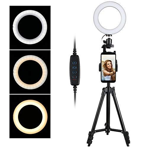 thlevel 6 ring light con cavalletto stand per selfie makeup live stream e youtube video dimmerabile led light camera (nero)