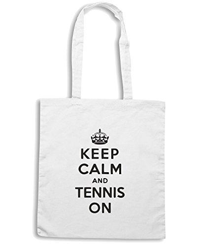 T-Shirtshock - Borsa Shopping OLDENG00152 keep calm and tennis on tshirt Bianco