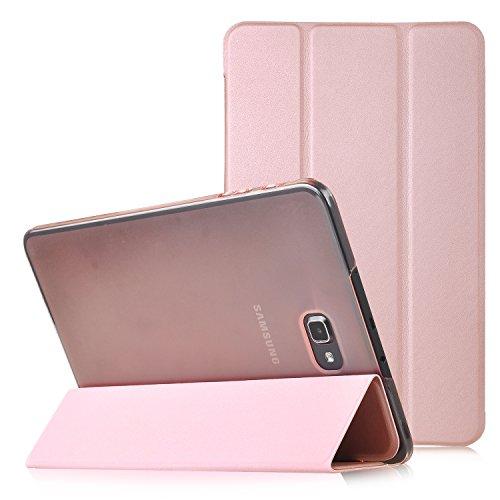 Samsung Galaxy Tab A 10.1 2016 Funda Case - IVSO Slim Smart Cover Funda Protectora de Cuero PU para Samsung Galaxy Tab A 10.1 2016 (SM-T580N / SM-T585N) Tablet(Rosado)