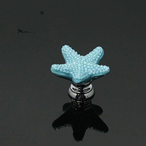 Cassetto armadietto Starfish Countryside ceramica maniglia porta armadio cassettiera manopola, Blue, 6 pezzi - Maniglia Blue Door