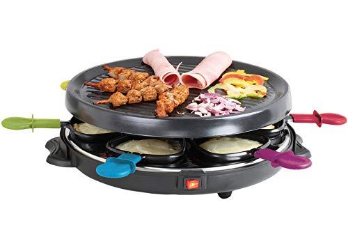 BARBACADO Appareil à Raclette 6 personnes, Raclette Gril pour 6 pers. avec 6 caquelons 6 spatules en bois