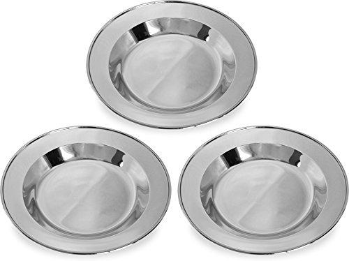 normani 3-12 Stück robuste Edelstahl Campingteller Edelstahlteller Farbe 3 Teller