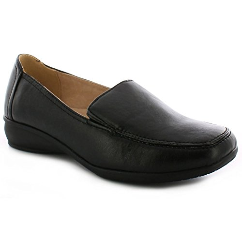 DR KELLER WOMENS WIDE FITTING SHOES LADIES LIGHTWEIGHT MOCCASIN FLAT LOW  WEDGE FIT COMFORT SMART CASUAL FORMAL OFFICE WORK LEATHER LINED LIGHT  WEIGHT LOAFER