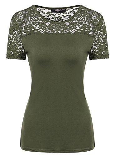 Zeagoo Damen Kurzarm T-Shirt aus Floral Spitze Basic Shirt Spiztenshirt Tunika Baumwolle Tops Hemd (EU 40/ L, Olivgruen)