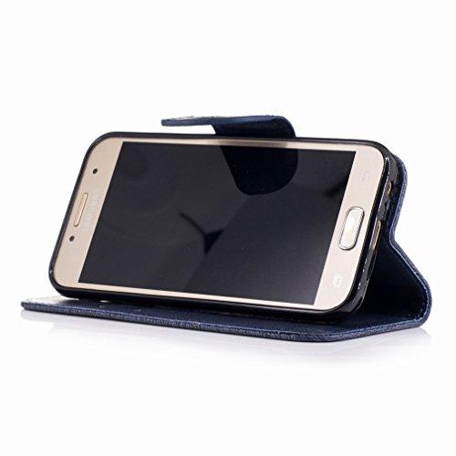 Yiizy Samsung Galaxy A3 (2017) / A320F/FL / A320Y Custodia Cover, Fiore Di Farfalla Design Sottile Flip Portafoglio PU Pelle Cuoio Copertura Shell Case Slot Schede Cavalletto Stile Libro Bumper Protet Blu Profondo