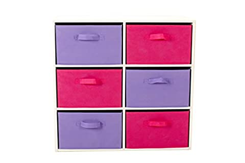 Colourful Storage Chest | 6 Canvas Bins, Removable Drawers, Open Shelf, Non-Woven Fabric Shelves Playroom (Pink & Purple)