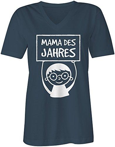 Mama des Jahres ★ V-Neck T-Shirt Frauen-Damen ★ hochwertig bedruckt mit lustigem Spruch ★ Die perfekte Geschenk-Idee (03) dunkelblau
