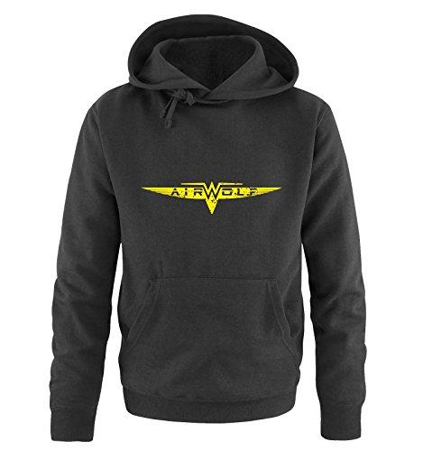 AIRWOLF - LOGO - Herren Hoodie by Comedy Shirts Schwarz / Neongelb