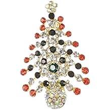 El árbol de con brillantes de diseño de la bandera de gorro de Papá Noel con color blanco y rojo y color verde y blanco para mujer de ángel y broche con forma de