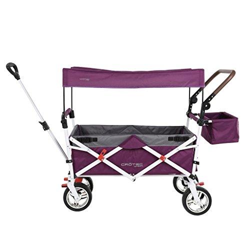 DELLT- Carretilla de mano para niños Carretilla de mano / para el hogar Carretilla de mano plegable para múltiples funciones / Carro para equipaje de pesca para acampar / Caucho de cuatro rieles Puede frenar Carretilla / 75 kg de carga ( Color : Purple )