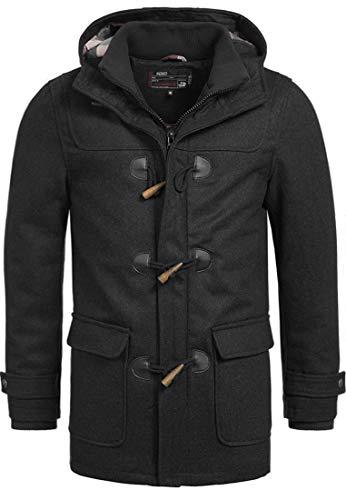 Indicode Herren Ervin Dufflecoat Wintermantel Lange Wolljacke mit Kapuze und Karo-Futter aus Hochwertiger Wollmischung Knebelverschluss Black M