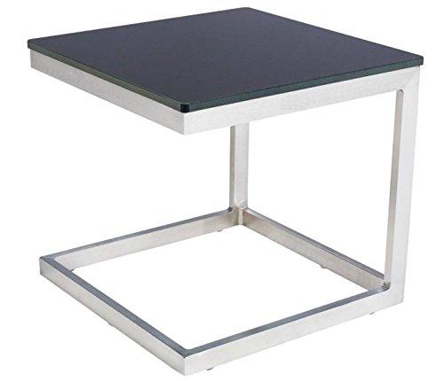 Table d'appoint en Aluminium, coloris anthracite - Dim : L 40 x P 40 x H 38cm - PEGANE -