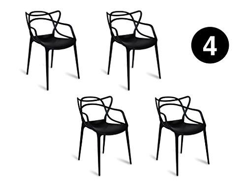 IBH DESIGN Set 4Stühle Miami-schwarz-Inspiriert Starck Masters - Outdoor Chaise Lounge-set