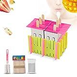 Yosoo Edelstahl-Popsicle-Form mit Plastikstock-Halter-Eiscreme-Form-Eis-Pop-Form DIY Lolly-Form-Creme-Hersteller-Gefrierschrank-Satz von 6