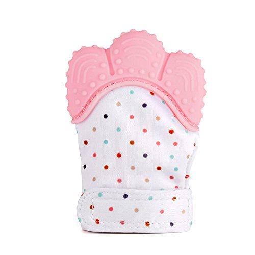 Newin Star Dentición Manopla,Mordedores Mitón Calmante para Bebés Silicona Seguridad y no-tóxico protege manos de los Bebés (rosa)