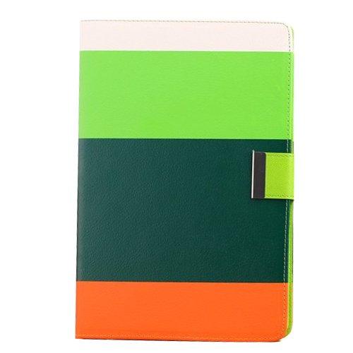 Apexel Rainbow 4Farbe Hohe Qualität PU Leder Wallet Folio Flip Schutzhülle mit Kreditkarte Halter für Apple iPad Air, Weiß/Rot/Gelb/Pink, SPIG9 White+Green+Dark Green+Orange (Ip5 Wallet)