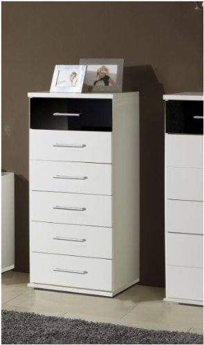 Berlin 6 Drawer Narrow German Chest Of Drawers Black Gloss and Alpine White (139318) - UK ONLY