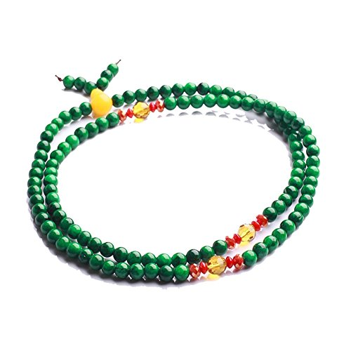 Qiyun Vente Chaude Vert Jade Priere Mala Meditation Perles Bracelet Collier Bouddhiste