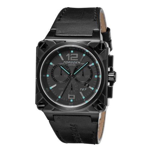 Torgoen - T27108 - Montre Homme - Quartz Analogique - Cadran Noir - Bracelet Cuir Noir
