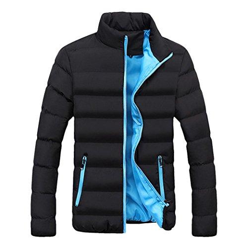 Tefamore Hommes Hiver Chaud Slim Fit Épais Bulle Manteau Casual Veste Parka Survêtement (M, Bleu)