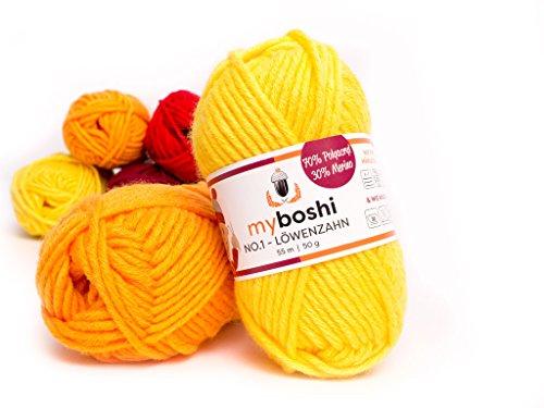 ahn) Merino Wolle / Acrylgarn No. 1 zum stricken, häkeln und für die Handarbeit (55m/50gr) (Gelb-wolle Pullover)