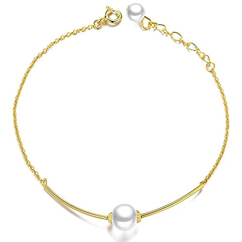 SWEETIEE - Bracelet en Argent 925 Sterling Plaque 18K Or, Chaine Avec Tube Orne de Perle, Or, 180mm