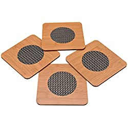 Yellow Weaves™ 4 Piece Bamboo Coasters or Pan Pot Holder Heat Insulation Pad (17 X 17 Cms) - Brown