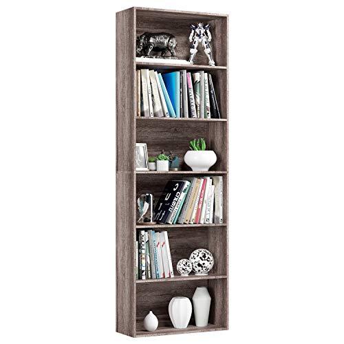 Homfa Estantería 6 Cubos Librerías para Libros CDs DVDs Estantería de Pared 60 * 23.5 * 180cm (Roble)