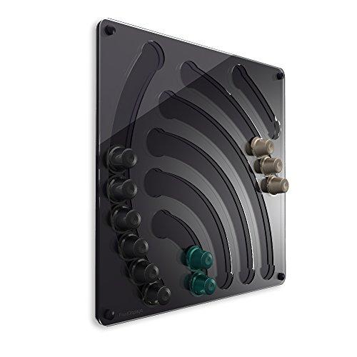 Plexidisplays 1107002 Wand-Kapselhalter für Cremesso Design Wasserfall, 41 x 40 cm, schwarz