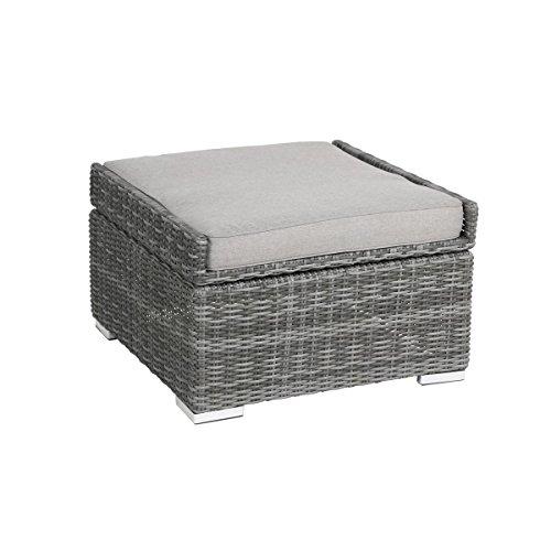 greemotion Rattan-Hocker Bari - Sitzhocker grau mit Tablett-Funktion ...