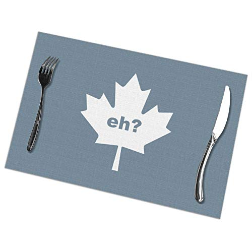 Dimension Art Canada Maple Leaf Eh! Placemats Set of 6 for Dining Table Washable Polyester Placemat Non-Slip Wear and Heat Resistant Kitchen Table Mats Easy to Clean -