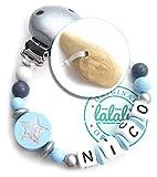 LALALO Veilchenwurzel Schnullerkette Blau Glitzer Stern mit Namen, Jungen, Natürliche Zahnungshilfe für Babys, Bio Wurzel von Grünspecht, Hilfe bei Zahnen