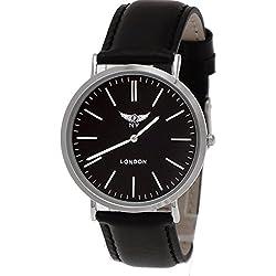 NY London designer Slim Unisex Leder Armband Uhr, Schwarz,Silber,super flach, inkl.Uhrenbox