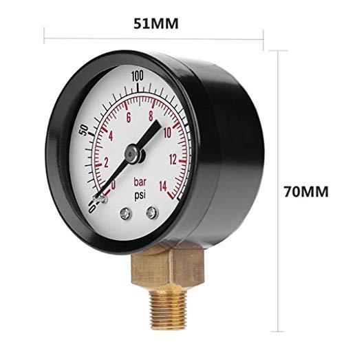 OKBYY Manometro Manometro 50mm 1//4 BSPT Filettatura in Ottone per Acqua gasolio Aria combustibile 0-15psi 0-1bar