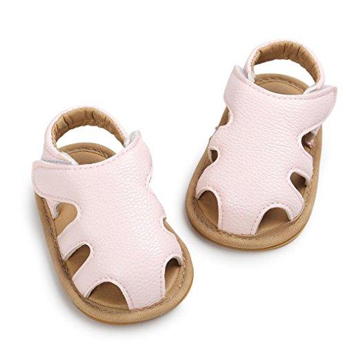 OverDose Unisex-Baby weiche warme Sohle Leder / Baumwolle Schuhe Infant Jungen-Mädchen-Kleinkind Schuhe 0-6 Monate 6-12 Monate 12-18 Monate F-PU Leder-Rosa