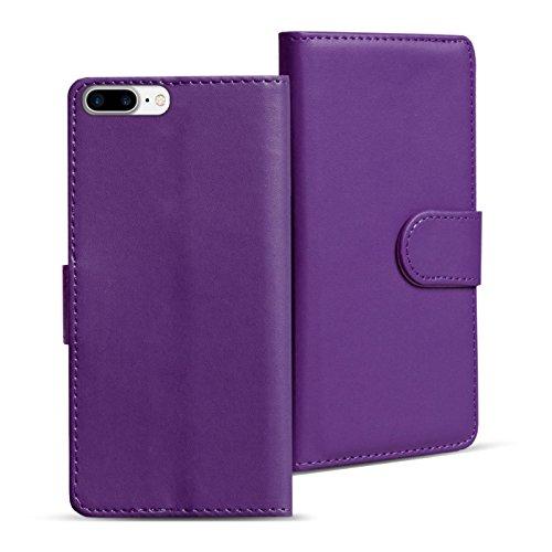iPhone 8 Plus Hülle, Verco Handyhülle für Apple iPhone 7 Plus > 8 Plus Tasche PU Leder Flip Case Brieftasche - Lila